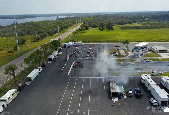 Drone shot of the cars lined up and ready to race at Bradenton Motorsports Park.