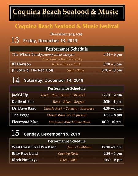 Music line up for Coquina Beach Seafood & Music Festival on Bradenton Beach, FL