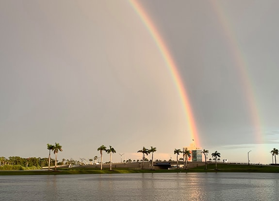 Rainbow over Nathan Benderson Park in Sarasota, FL