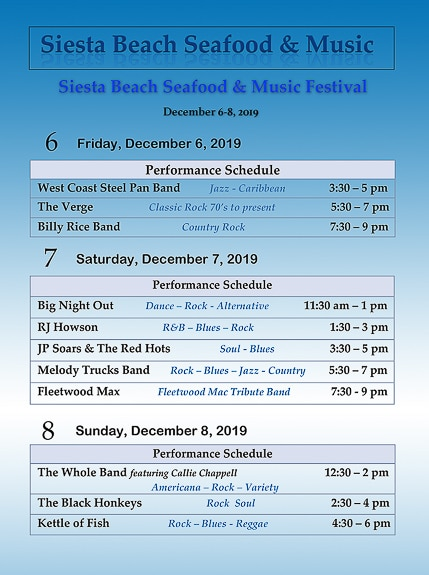 The music line up for Siesta Beach Seafood & Music Festival 2019