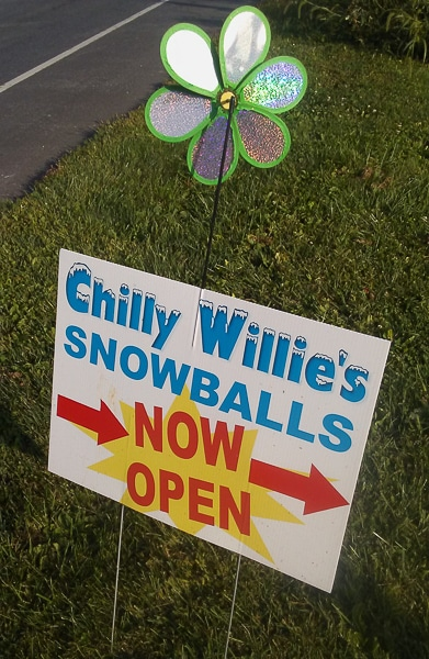 A sign for SnowBalls