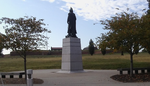 Outside of Fort McHenry with Bastions and moat and statue of Col. Armstead commander during the Battle