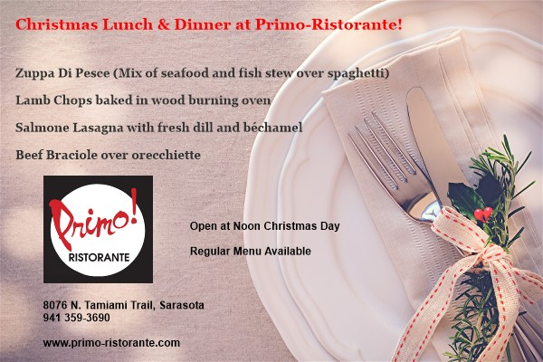 Primo Ristorante Christmas Day Menu