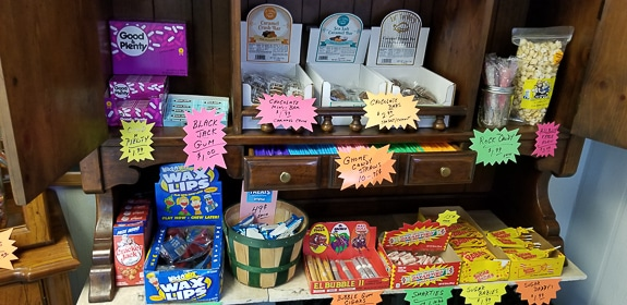 Old-fashioned candy is for sale at Thompson's in Cortez, FL