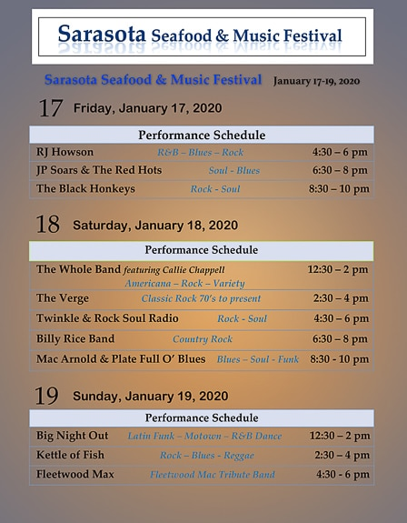 Band Performance Schedule for The Sarasota Seafood & Music Festival