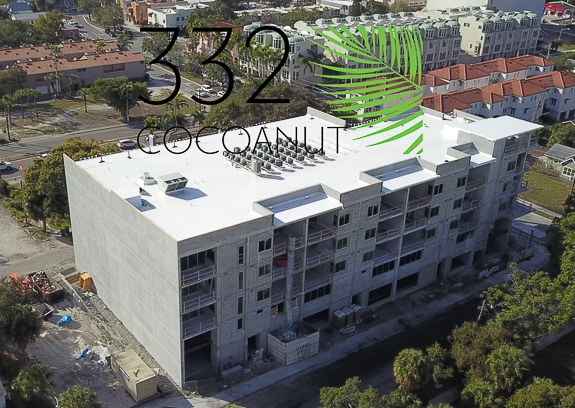 Drone shot of the construction of 332 Cocoanut