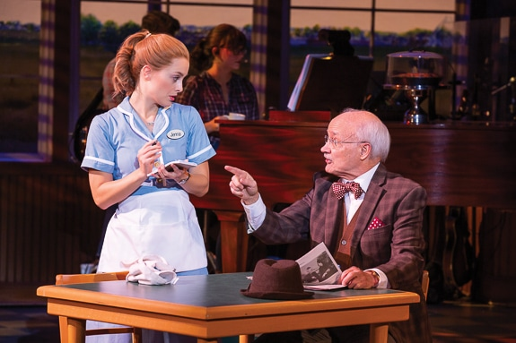 Bailey McCall as Jenna and Michael R. Douglass as Joe in the National Tour of WAITRESS