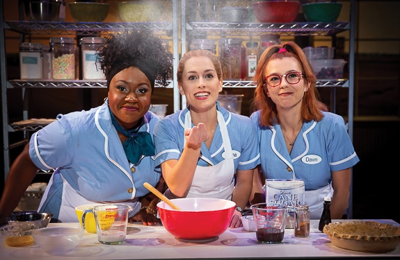 Kennedy Salters as Becky, Bailey McCall as Jenna, and Gabriella Marzetta as Dawn in the National Tour of Waitress