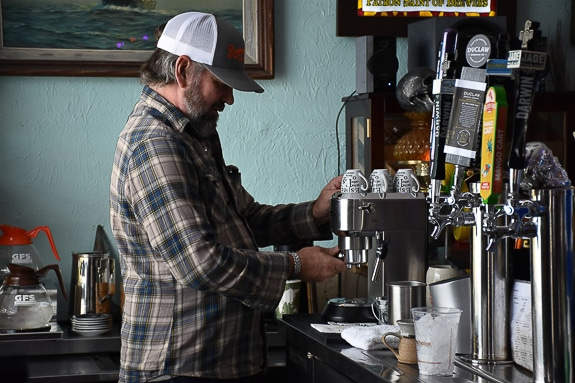 Co-owner Jeremy makes espresso at Bunny & Pirates in Cortez, FL