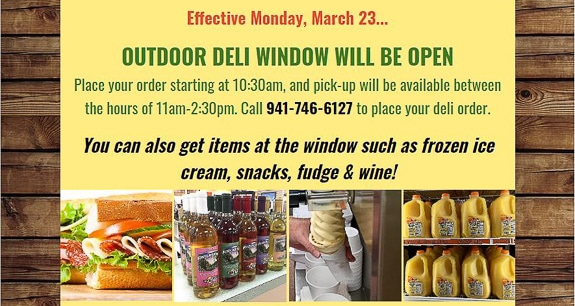 Mixon Farm outdoor window open for pick-up orders.