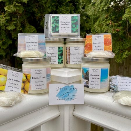 A variety of candles from Island Tides Candle Company