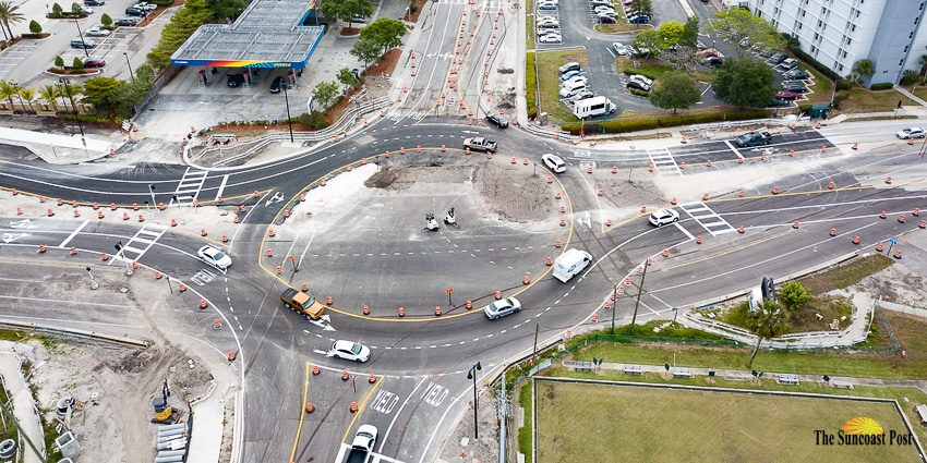 Aerial view of Sarasota roundabout