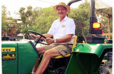 Man on green tractor