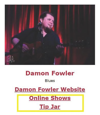 Online Shows, Tip Jar for Damon Fowler