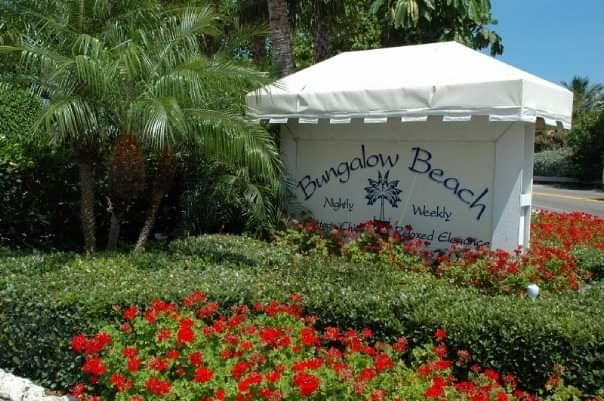 bungalow beach resort sign