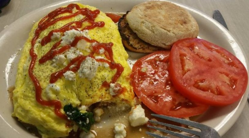 Omelette, tomatoes and english muffin
