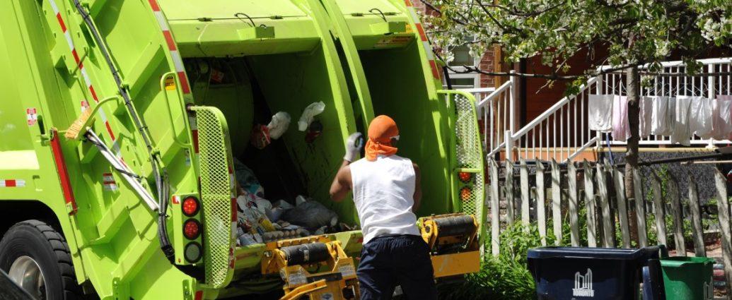 garbage truck and sanitation crew