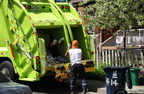 garbage truck and sanitation crew
