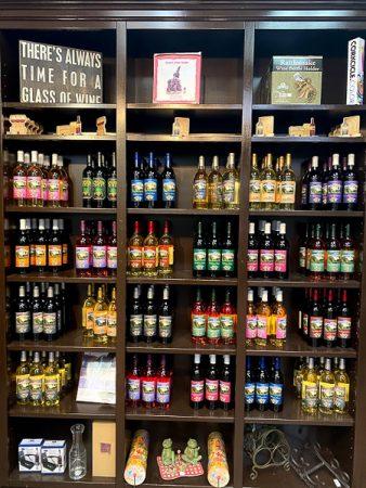 wineshelf in the store at mixon fruit farm