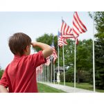 Memorial Day boy saluting flags